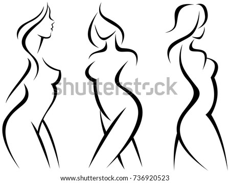Set of stylized silhouettes woman body/Stock Vector Illustration