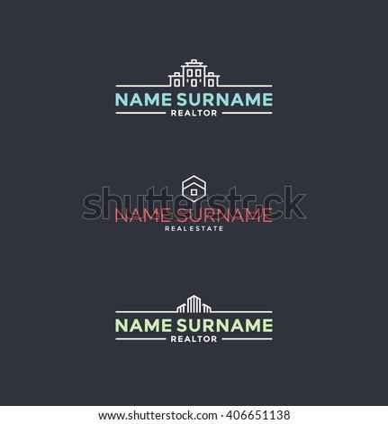 Set of stylized symbols for realtors, architects etc. Real estate logo design elements