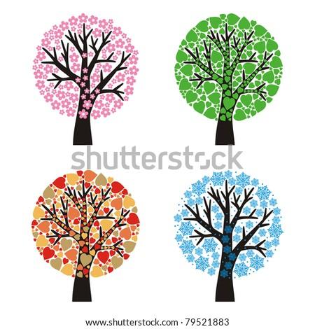 set of stylized trees, four seasons