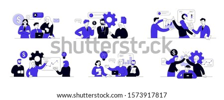 Set of succesfull team illustrations. Bundle of men and women taking part in business meeting, negotiation, brainstorming, talking to each other. Teamwork concept outline vector illustrations