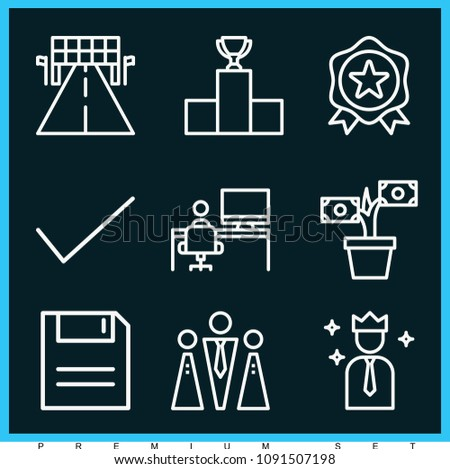 set of 9 success outline icons