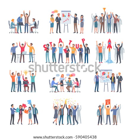 Set of successful startup with group of people on white background. Twelve flat horizontal banners webpage design with innovative product planning and teamwork. Vector illustration of company strategy
