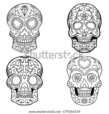 Day Of The Dead Design Lovely Skull Collection In Black And White