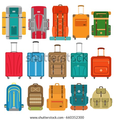 Set of suitcases and backpack icons in flat style. Tourist hiking backpacks with sleeping bags. Travel bags. Vector illustration.
