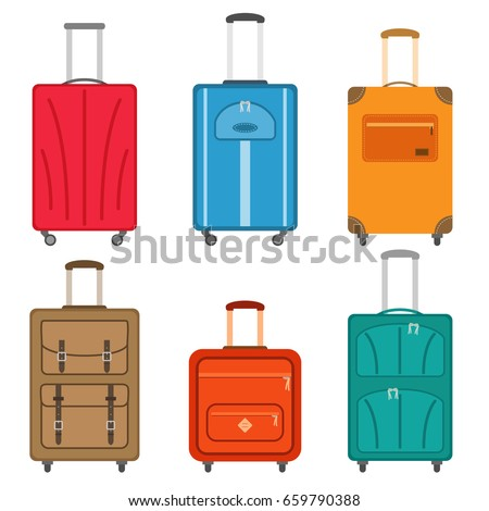 Set of suitcases icons in flat style. Travel bags. Vector illustration.