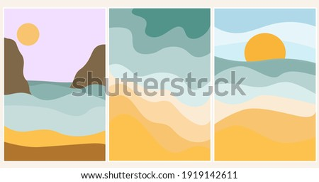 set of summer abstract content