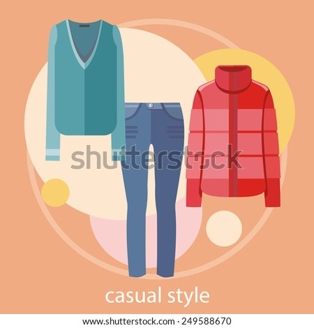 Set of summer and autumn casual style dresses clothes for office in fashion store Concept in flat design