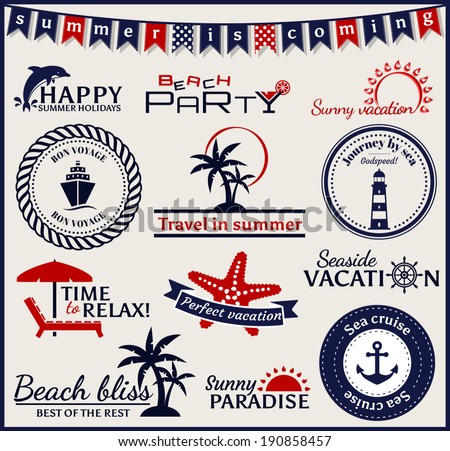 set of summer and sea labels ...