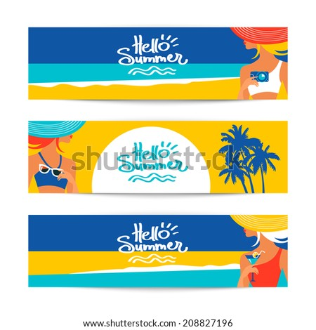 Set of summer banners with beautiful women silhouettes at the seaside. Vector illustration