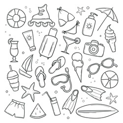 Set of summer beach elements in hand drawn doodle style. Clip-art collection of things for vacation. Monochrome linear stickers. Vector illustration isolated on white background