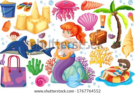 set of summer beach icon and