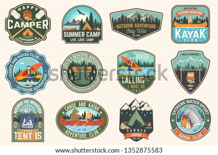 Set of summer camp, canoe and kayak club badges. Vector. For patch, stamp. Design with camping, mountain, river, american indian and kayaker silhouette. Extreme camp and water sport kayak patches