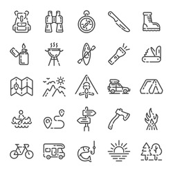 Set of summer camping trip, tourism or hiking outline icons. Line vector illustration.