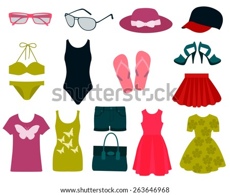 set of summer clothes and