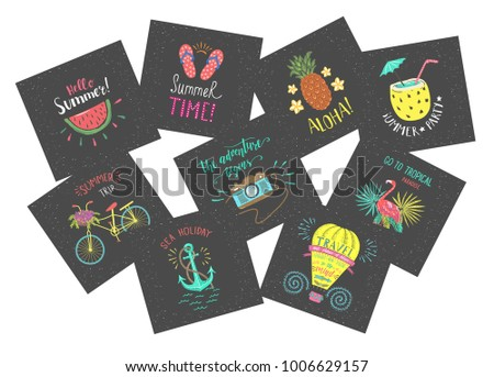 Set Of Summer Color Hand Lettering Labels And Stickers Tropical Emblems With Fruits