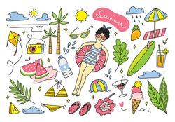 Set of summer doodle vector element on white background