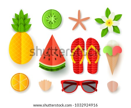 Set of Summer elements. Collection of flat paper cut elements isolated on white backdrop. Vector illustration with tropical fruit, ice cream, seashells, flip flops, sunglassses and flower.