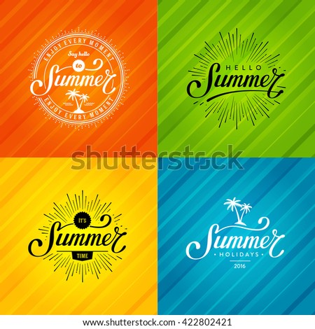 Set of Summer emblems. Hand drawn typographic design for sign, t-shirt print  or poster. Vector illustration.