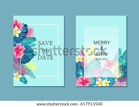 Set of  summer exotic and tropic background card design. Composition with palm leaves. Vector universal background with place for text.