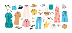 Set of summer fashion clothes vector flat illustration. Collection of trendy clothing for vacation or beach isolated on white. Colored stylish shoes, dress, trousers, shirt, swimsuit and accessories