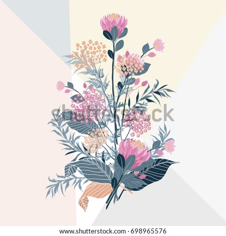 set of summer flora with...
