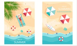 Set of summer gift certificates. Unusual design of the coupon used for invitation, gift card and certificate. Vector illustration with sea shore and palm trees, woman in hat sunbathing.