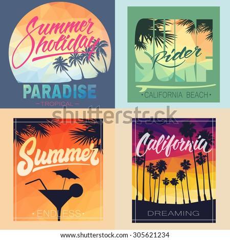 set of summer hand lettered