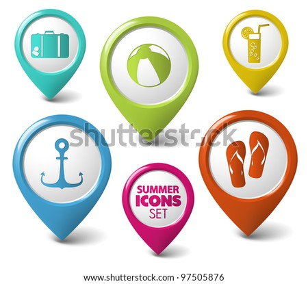 Set of summer holiday vector round 3D pointers