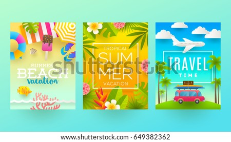 set of summer holidays and