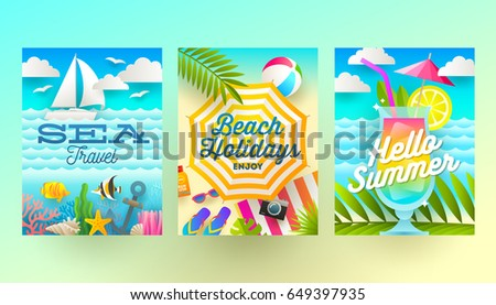 Set of summer holidays and tropical vacation  posters or greeting card. Vector flat design.