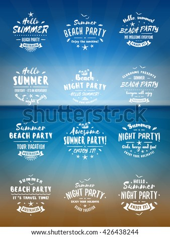 Set of Summer Holidays Design Elements. Beach Party Badges and Labels. White on Blue Ocean Background. Beach Vacation, Party, Journey, Camping