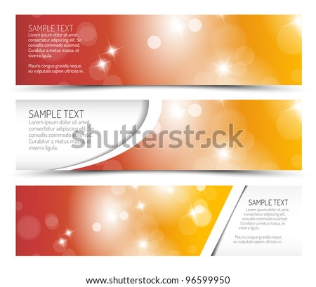 Set of summer horizontal banners - with place for your text