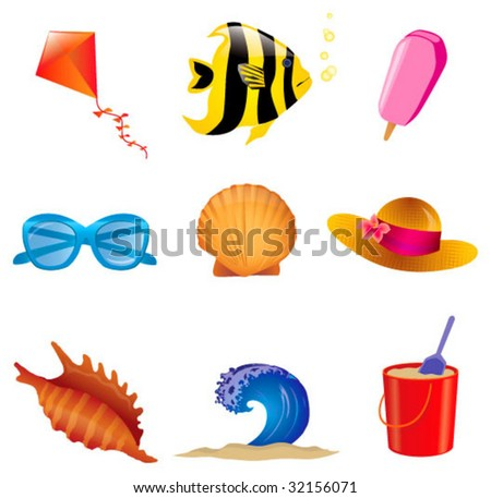 SET OF SUMMER ICONS ELEMENTS. Vector file.