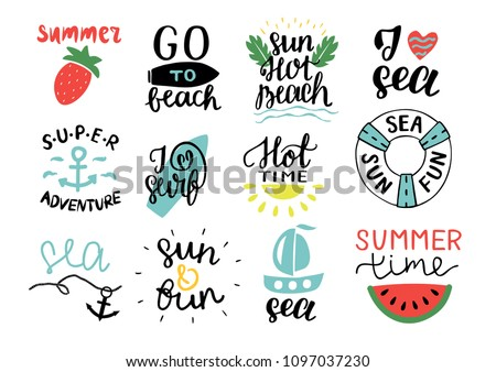 set of 12 summer logo with hand