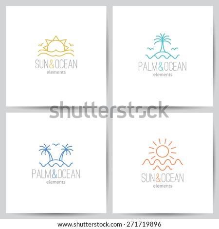 set of summer logo with sun