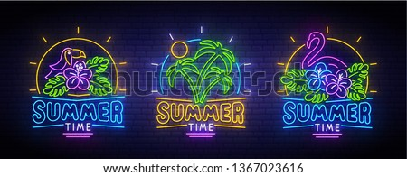 set of summer neon icons