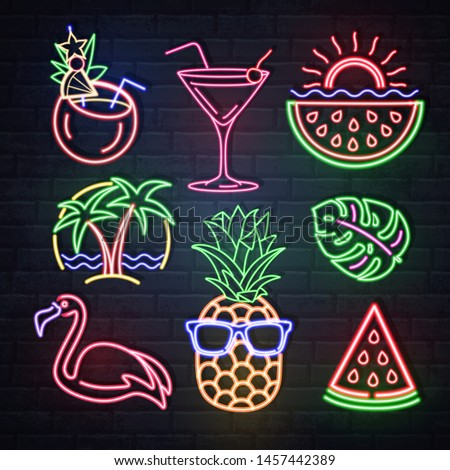 Set of summer neon sings. Neon isolated icons. Flamingo, pineapple, cocktail, tropic leaves, palms. Vintage electric signboard