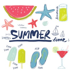 Set of summer related items