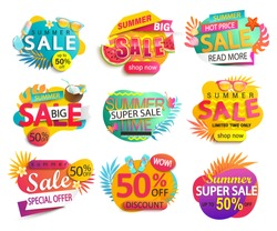 Set of summer sale and discount stickers.Hot season clearance price tag.Invitation for online shopping with 50 percent price off,special offer card,template for design,banner for Mid or end of season.