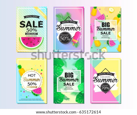 Set of summer sale background design for banner, flyer, wallpaper. Promotional discount shop materials, poster, brochure, voucher discount.
