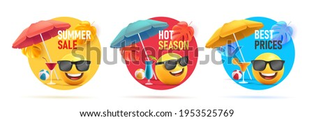 Set of summer sale discount tags, circle shapes with 3d illustration of smiley face emoji with umbrella and cocktails in sunglasses on the beach having fun