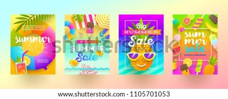set of summer sale promotion