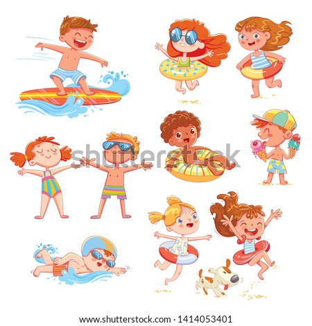 Set of summer scenes with children. Vacation at sea. Child swim with inflatable rubber circle, sunbathe on the beach, surfing, swimming race, eat ice cream. Funny cartoon character