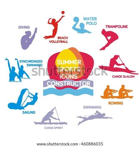 set of summer sport silhouettes, vector illustration