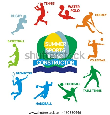Set of summer sports silhouettes, set of sport icons, vector illustration