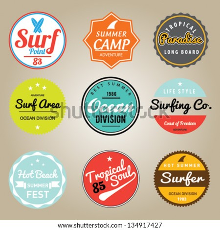 Set of Summer | Surfing Design | Tropical vector set