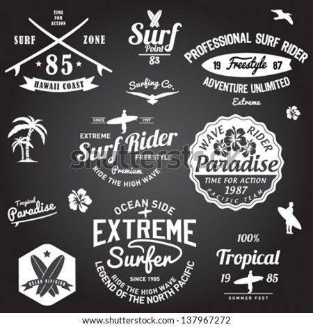 set of summer   surfing design