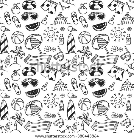 set of summer themed seamless background in doodle style