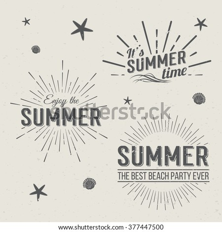 set of summer time logo