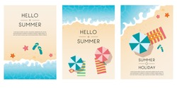 Set of summer travel flyers with beach items and wave. Top view. Vector illustration